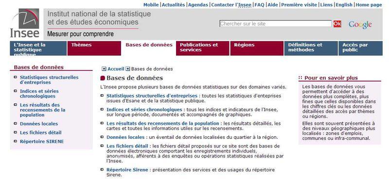 Insee - Bases de données