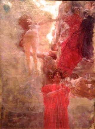 Israel Museum Klimt 2 oil study for Klimt's Medicine, which burned with at least 14 stolen Klimts when SS torched Schloss Immendorf in 1945