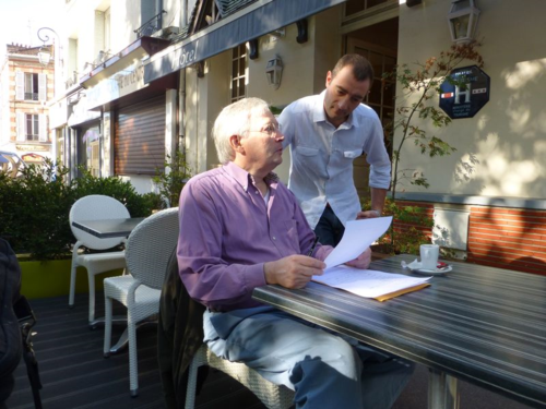Tom Reeves interviewing Jérôme Luc proprietor of Auberge des 3 Marches in Le Vésinet - landscape