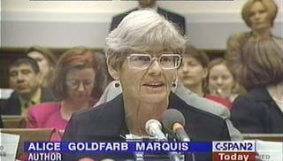 Alice Goldfarb Marquis testifying before Congress on Art