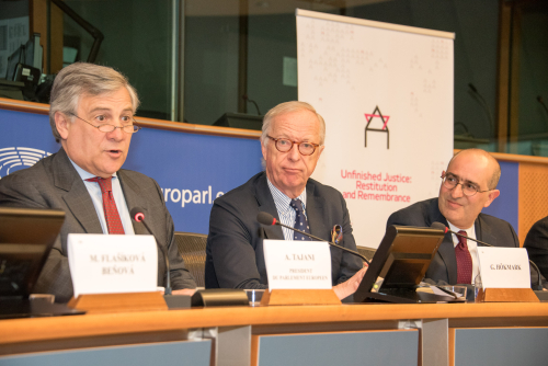 (L-R) President of the European Parliament Antonio Tajani_ MEP Gunnar Hökmark_ Gideon Taylor  WJRO Chair of Operations  2017 -Photo Francesco Serafini