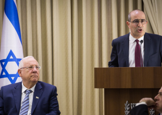 Gideon Taylor (R)  Chair of Operations of WJRO  at President's House  Israel with President Reuven Rivlin  Photo credit - Hadas Parush Flash90  (sp)